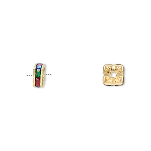 bead, gold-finished brass and glass rhinestone, multicolored dark, 6x3mm squaredelle. sold per pkg of 10.