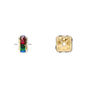 bead, gold-finished brass and glass rhinestone, multicolored dark, 8x4mm squaredelle. sold per pkg of 10.
