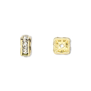 bead, gold-finished brass and rhinestone, clear, 8x4mm squaredelle. sold per pkg of 10.