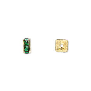 bead, gold-finished brass and rhinestone, emerald green, 6x3mm squaredelle. sold per pkg of 10.
