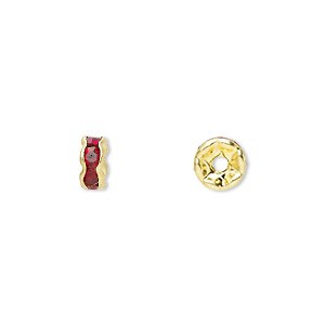 bead, gold-finished brass and rhinestone, garnet red, 6x3mm rondelle. sold per pkg of 10.