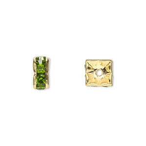 bead, gold-finished brass and rhinestone, peridot green, 8x4mm squaredelle. sold per pkg of 10.