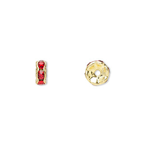 bead, gold-finished brass and rhinestone, red, 6x3mm rondelle. sold per pkg of 10.