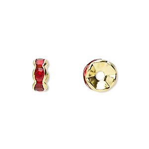 bead, gold-finished brass and rhinestone, red, 8x4mm rondelle. sold per pkg of 10.