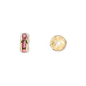 bead, gold-finished brass and rhinestone, rose, 8x4mm rondelle. sold per pkg of 10.