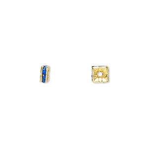 bead, gold-finished brass and rhinestone, sapphire blue, 4x2mm squaredelle. sold per pkg of 10.