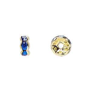 bead, gold-finished brass and rhinestone, sapphire blue, 8x4mm rondelle. sold per pkg of 10.