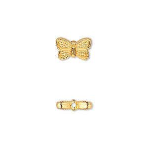 bead, gold-finished pewter (zinc-based alloy), 10x6mm double-sided butterfly. sold per pkg of 50.