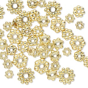 bead, gold-finished pewter (zinc-based alloy), 4x1mm-8.5x3mm assorted rondelle. sold per pkg of 50.