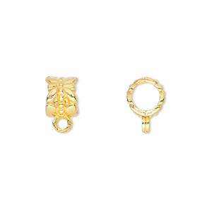 bead, gold-finished pewter (zinc-based alloy), 8x6mm tube with dragonfly design and closed loop, 5mm hole. sold per pkg of 50.