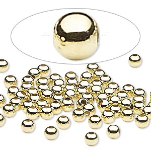 bead, gold-finished steel, 4mm round. sold per pkg of 500.