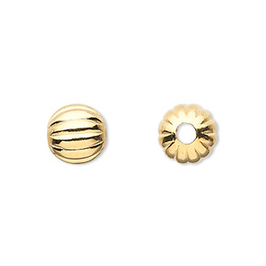 bead, gold-plated brass, 10mm corrugated round with 2.5mm hole. sold per pkg of 10.