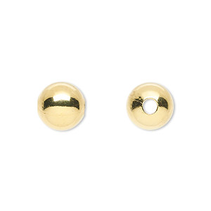 bead, gold-plated brass, 10mm round with 2.5mm hole. sold per pkg of 10.