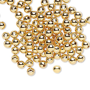 bead, gold-plated brass, 4mm smooth round. sold per pkg of 1,000.