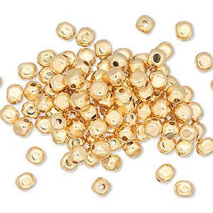 bead, gold-plated brass, 4x3mm rounded rectangle. sold per pkg of 100.