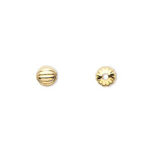 bead, gold-plated brass, 6mm corrugated round. sold per pkg of 100.