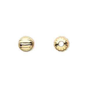 bead, gold-plated brass, 8mm corrugated round with 2mm hole. sold per pkg of 10.