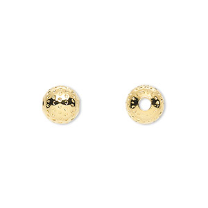 bead, gold-plated brass, 8mm dimpled round, 2.5mm hole. sold per pkg of 100.