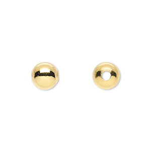 bead, gold-plated brass, 8mm round with 2mm hole. sold per pkg of 100.