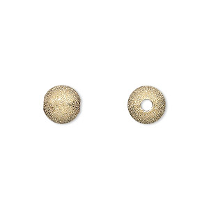 bead, gold-plated brass, 8mm stardust round with 2.4mm hole. sold per pkg of 24.