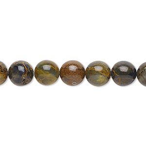 bead, golden pietersite (natural), 8mm round, b grade, mohs hardness 6-1/2 to 7. sold per 16-inch strand.