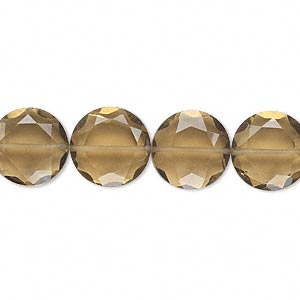 bead, golden quartz (heated), 12mm hand-cut faceted flat round, b grade, mohs hardness 7. sold per pkg of 10.
