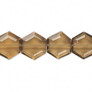 bead, golden quartz (heated), 13x12mm hand-cut faceted hexagon, b grade, mohs hardness 7. sold per pkg of 10.