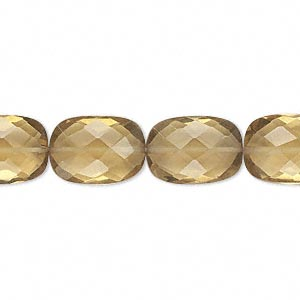 bead, golden quartz (heated), 14x10mm hand-cut faceted flat rectangle, b grade, mohs hardness 7. sold per pkg of 10.