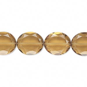 bead, golden quartz (heated), 14x12mm hand-cut faceted oval, b grade, mohs hardness 7. sold per pkg of 10.