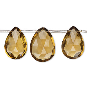 bead, golden quartz (heated), 15x10mm-18x13mm graduated hand-cut top-drilled faceted puffed teardrop with 0.4mm-1.4mm hole, b+ grade, mohs hardness 7. sold per pkg of 7 beads.