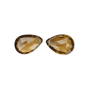 bead, golden quartz (heated), 18x13mm hand-cut top-drilled faceted puffed teardrop with 0.4mm-1.4mm hole, a- grade, mohs hardness 7. sold per pkg of 2.