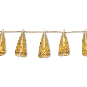 bead, golden quartz (heated), 18x8mm-24x10mm graduated hand-cut top-drilled carved cone flower, b+ grade, mohs hardness 7. sold per pkg of 5 beads.