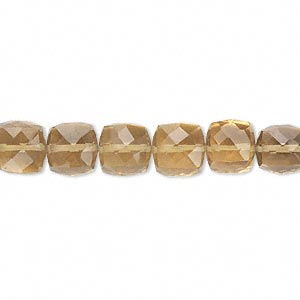 bead, golden quartz (heated), 8x8mm hand-cut faceted cube, b grade, mohs hardness 7. sold per pkg of 10.