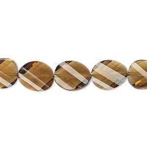 bead, golden quartz (heated), light to dark, 11x9mm hand-cut faceted twisted flat oval, b+ grade, mohs hardness 7. sold per pkg of 5.