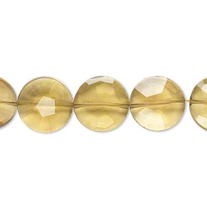 bead, golden quartz (heated), light to dark, 12mm hand-cut faceted flat round, b+ grade, mohs hardness 7. sold per pkg of 5.
