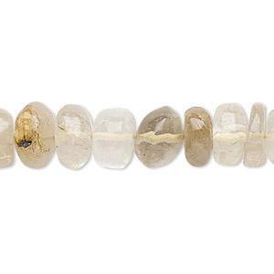 bead, golden rutilated quartz (natural), 10x4mm-11x8mm hand-cut tumbled rondelle, c grade, mohs hardness 7. sold per 13-inch strand.