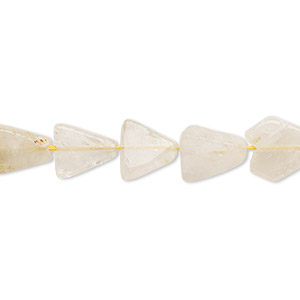bead, golden rutilated quartz (natural), 8x8x7mm-12x12x9mm hand-cut flat triangle, c- grade, mohs hardness 7. sold per 13-inch strand.