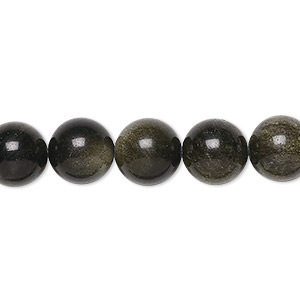 bead, golden sheen obsidian (natural), 10mm round, a grade, mohs hardness 5 to 5-1/2. sold per 16-inch strand.