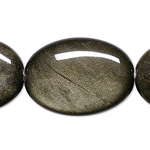 bead, golden sheen obsidian (natural), 35x25mm flat oval, a grade, mohs hardness 5 to 5-1/2. sold per 8-inch strand, approximately 5 beads.