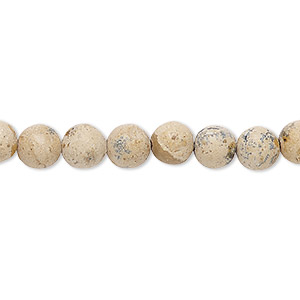 bead, grain stone (natural), matte light, 6mm round, d grade, mohs hardness 3. sold per 16-inch strand.