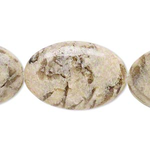 bead, graphic feldspar (natural), 30x20mm flat oval, b grade, mohs hardness 6 to 6-1/2. sold per 8-inch strand.