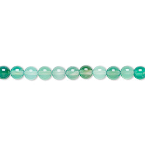bead, green agate (dyed), 4mm round, b grade, mohs hardness 6-1/2 to 7. sold per 16-inch strand.