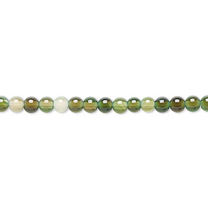 bead, green agate (dyed), light to dark, 3-4mm round, c- grade, mohs hardness 6-1/2 to 7. sold per 15-inch strand.