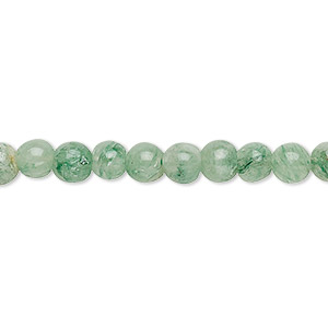 bead, green aventurine (dyed), 5-6mm hand-cut round, c grade, mohs hardness 7. sold per 12-inch strand.