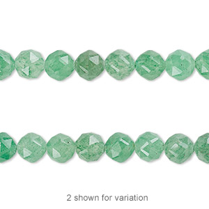 bead, green aventurine (natural), 6mm rose-cut round with 0.5-1.5mm hole, b grade, mohs hardness 7. sold per 8-inch strand, approximately 30 beads.