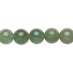 bead, green aventurine (natural), dark, 10mm round, c grade, mohs hardness 7. sold per 15-inch strand.