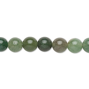 bead, green aventurine (natural), dark, 8mm round, c grade, mohs hardness 7. sold per 15-inch strand.
