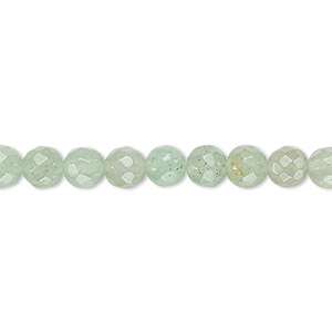 bead, green aventurine (natural), light to medium, 6mm faceted round, b grade, mohs hardness 7. sold per 16-inch strand.