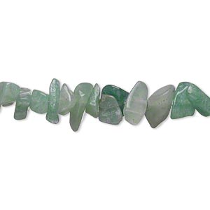 bead, green aventurine (natural), medium chip, mohs hardness 7. sold per 16-inch strand.