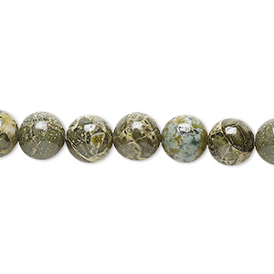 bead, green brecciated jasper (natural), 8mm round, b grade, mohs hardness 6-1/2 to 7. sold per 16-inch strand.